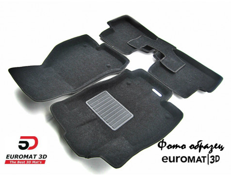 Текстильные 3D коврики Euromat3D Business в салон для Cadillac CTS (2007-2014) (2WD) № EMC3D-001301